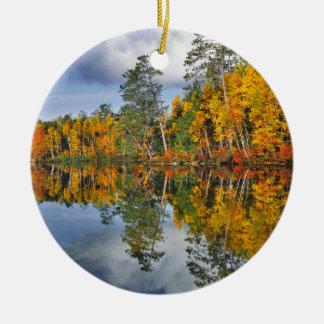 Autumn pond reflections, Maine Ceramic Ornament