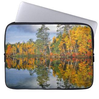 Autumn pond reflections, Maine Laptop Sleeve