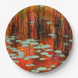 Autumn Pond Rustic Fall Wedding Photography 9 Inch Paper Plate