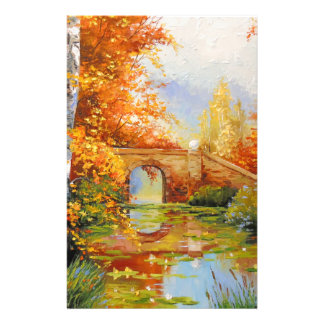 Autumn pond stationery