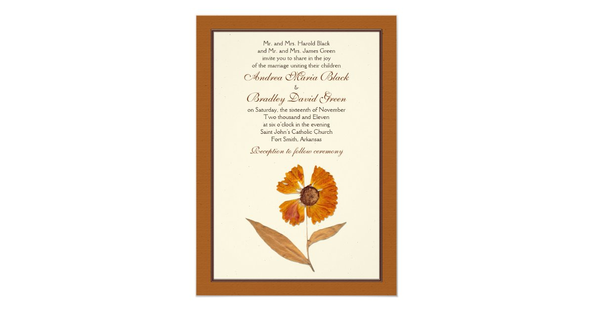 autumn pressed dried flower wedding invitation. Black Bedroom Furniture Sets. Home Design Ideas