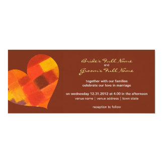 "Autumn pueblo Wedding Invitation 4"" X 9.25"" Invitation Card"