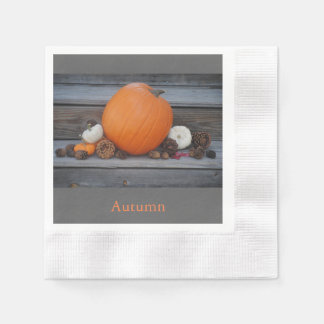 Autumn Pumpkin and Pinecones Coined Paper Napkin