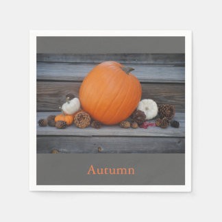 Autumn Pumpkin and Pinecones Paper Napkin