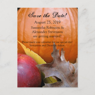 Autumn Pumpkin, Apple Fall Wedding Save the Date Announcement Postcard
