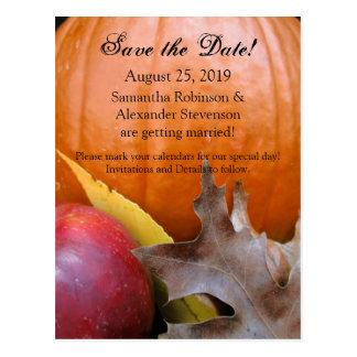 Autumn Pumpkin, Apple Fall Wedding Save the Date Postcard