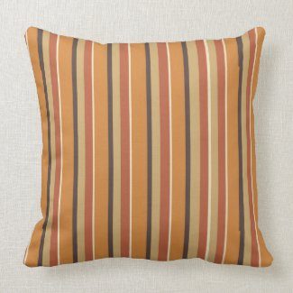 Autumn Pumpkin Color with Pumpkin Spice Stripes Throw Pillow