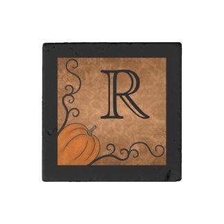 Autumn pumpkin design monogram Thanksgiving Stone Magnet