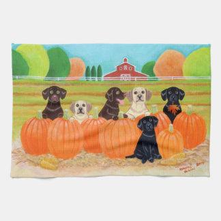 Autumn Pumpkin Labradors Painting Towels