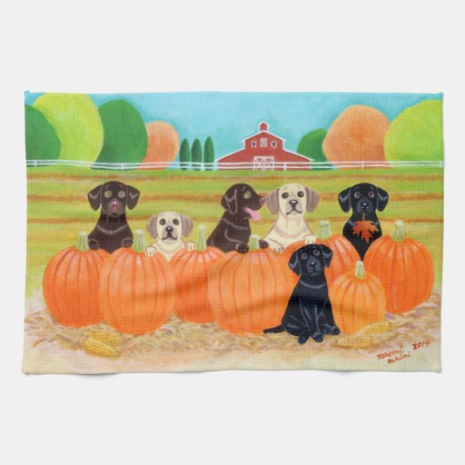 Autumn Pumpkin Labradors Painting Towels