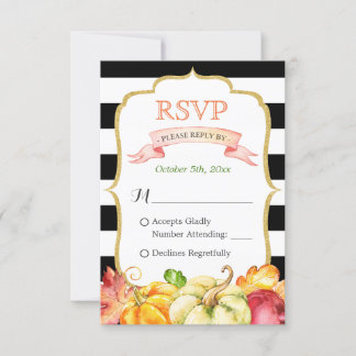 Autumn Pumpkin Maple Leaves Fall Wedding RSVP