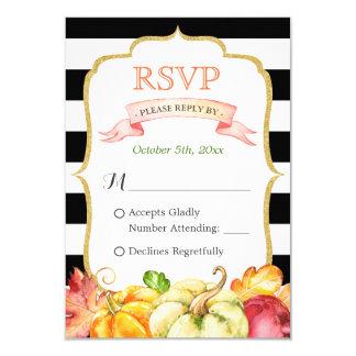 Autumn Pumpkin Maple Leaves Fall Wedding RSVP Card