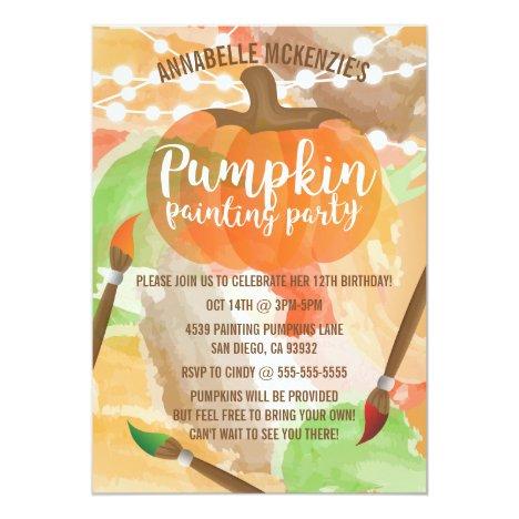 Autumn Pumpkin Painting Party Invitations