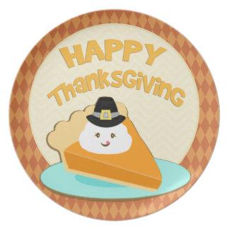 Autumn Pumpkin Pie Pilgrim Thanksgiving  Plate