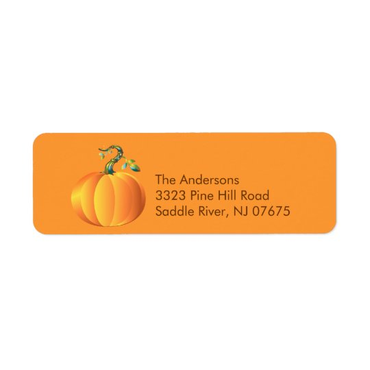 Autumn Pumpkin Return Address Label