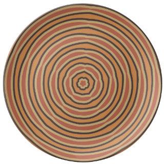 Autumn Pumpkin Spice Circles Porcelain Plate