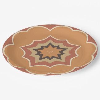 Autumn Pumpkin Spice Kaleidoscope Paper Plate