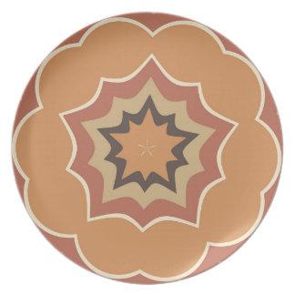 Autumn Pumpkin Spice Kaleidoscope Pattern Dinner Plate