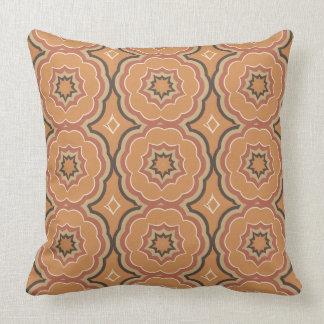 Autumn Pumpkin Spice Kaleidoscope with Cream Throw Pillow