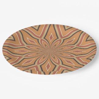Autumn Pumpkin Spice Star Flower Paper Plate