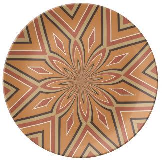 Autumn Pumpkin Spice Star Flower Porcelain Plate