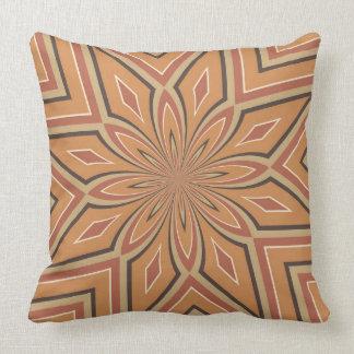 Autumn Pumpkin Spice Star Flower with Dark Brown Throw Pillow