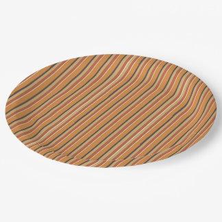 Autumn Pumpkin Spice Stripes Paper Plate