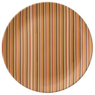 Autumn Pumpkin Spice Stripes Plate