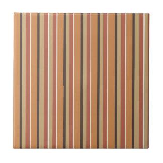 Autumn Pumpkin Spice Stripes Ceramic Tile