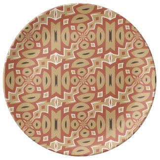 Autumn Pumpkin Spice Tribal Design Dinner Plate