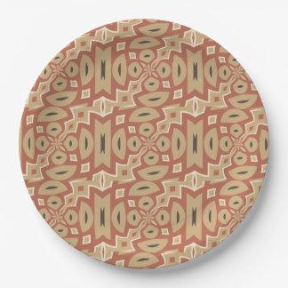 Autumn Pumpkin Spice Tribal Design Paper Plate
