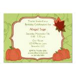 "Autumn Pumpkins and Leaves Birthday Invitation 4.5"" X 6.25"" Invitation Card"
