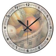Autumn - Pumpkins in a basket Wall Clocks