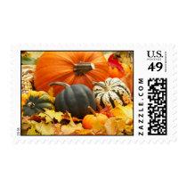 Autumn Pumpkins & Leaves postage