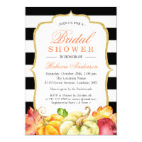Autumn Pumpkins Maple Leaves Fall Bridal Shower Invitation