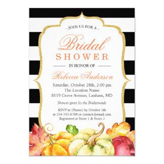 Autumn Pumpkins Maple Leaves Fall Bridal Shower Invitation