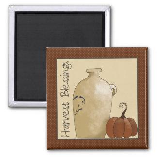 Autumn Pumpkins · Pottery Jug & Pumpkin 2 Inch Square Magnet