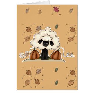 autumn pumpkins sheep card