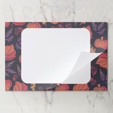 Halloween Themed Autumn Purple and Orange Leaves and Pumpkins Paper Pad