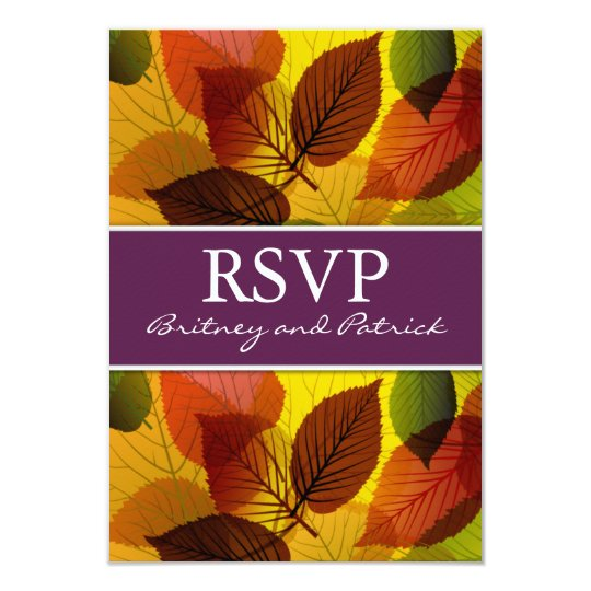 Autumn Purple Falling Leaves Wedding RSVP Cards