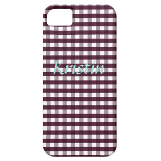 Autumn Purple Gingham Customizable iPhone 5 Case