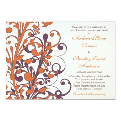 "Autumn Purple Orange Floral Wedding Invitation 5"" X 7"" Invitation Card"