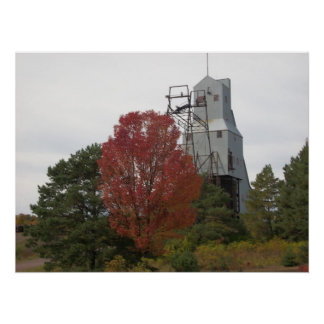 Autumn Quincy Mine Steam Hoist Photo Poster