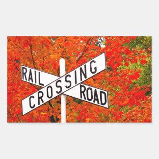 Autumn Railroad Crossing Rectangular Sticker