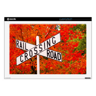 """Autumn Railroad Crossing Decal For 17"""" Laptop"""