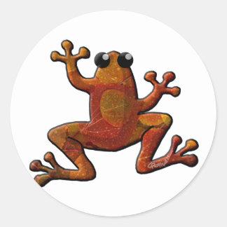 Autumn Rain Frogs Classic Round Sticker