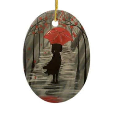 Beach Themed Autumn Rain Red Umbrella Ornament