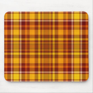 Autumn Red and Gold Plaid Pattern Mouse Pad