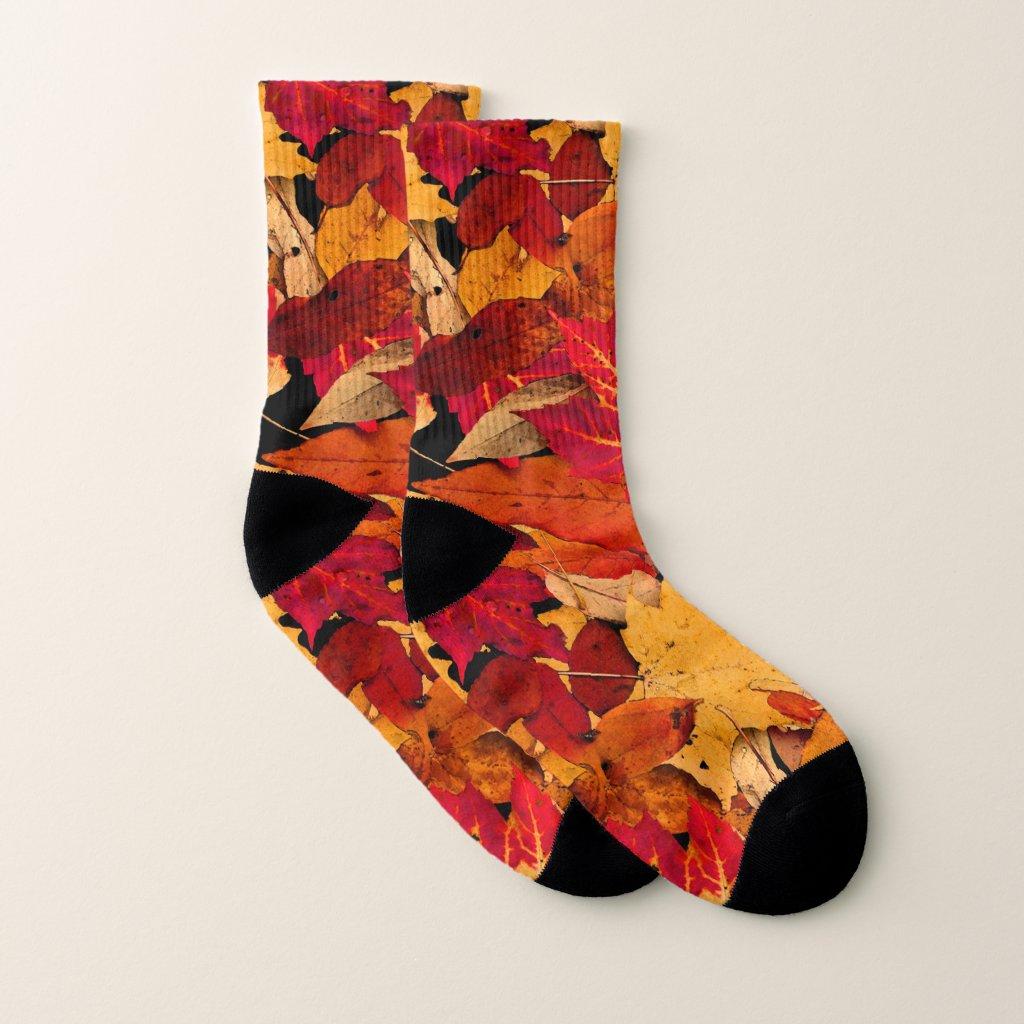 Autumn Red Brown Yellow Orange Pattern Socks