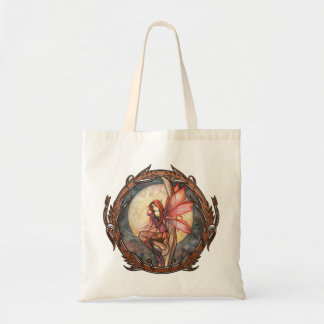 Autumn Red Fantasy Fairy Large Tote